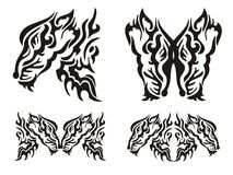 Elementi selvaggi della volpe del tatuaggio tribale Fotografia Stock Libera da Diritti