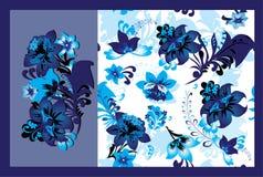Elementi senza giunte e floreali floreali blu Fotografia Stock