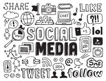 Elementi sociali di scarabocchi di media Fotografia Stock Libera da Diritti