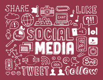 Elementi sociali di scarabocchi di media Immagini Stock