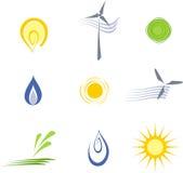 Elementi sostenibili di energia di vettore Fotografia Stock Libera da Diritti