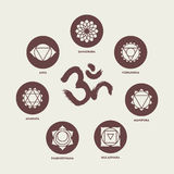 Elementi stabiliti dell'icona di Chakra e calligrafia del OM Fotografia Stock Libera da Diritti