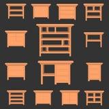 Elementi stabiliti della mobilia di vettore wardrobe Illustrazione di Stock