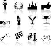 Elementi stabiliti di disegno di serie dell'icona di successo e di vittoria Fotografie Stock Libere da Diritti