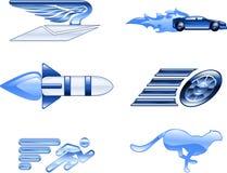 Elementi stabiliti di disegno di serie dell'icona di velocità Immagine Stock Libera da Diritti