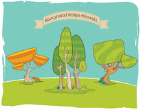 Elementi stilizzati di progettazione del fondo: alberi immagine stock