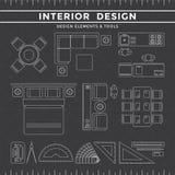 Elementi & strumenti di interior design su fondo scuro Illustrazione di Stock