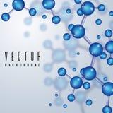 Elementi strutturali con 3d gli atomi, molecola chimica Fondo di scienza astratta di vettore Immagini Stock Libere da Diritti