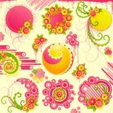Elementi svegli di disegno floreale. Fotografie Stock