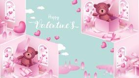 Elementi svegli e dolci nella forma di cuore, scatola di regalo, orsacchiotto che vola sul fondo rosa Simboli di vettore di amore illustrazione vettoriale