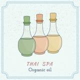 Elementi tailandesi disegnati a mano di progettazione della stazione termale e di massaggio Immagine Stock Libera da Diritti