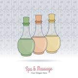 Elementi tailandesi disegnati a mano di progettazione della stazione termale e di massaggio Immagini Stock