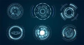 Elementi tecnologici di HUD, realtà virtuale futuristica dell'interfaccia Modello futuristico di Hud cerchio digitale di progetta illustrazione vettoriale