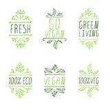 elementi tipografici A mano schizzati Etichette del prodotto del vegano Fotografia Stock Libera da Diritti