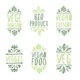 elementi tipografici A mano schizzati Etichette del prodotto del vegano Immagini Stock
