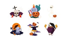Elementi tradizionali di progettazione dell'insieme di Halloween, illustrazione spaventosa di vettore di simboli illustrazione vettoriale