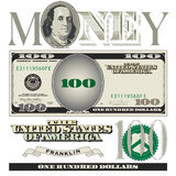 100 elementi vari della banconota in dollari Fotografie Stock