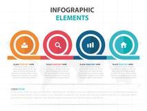 Elementi variopinti astratti di Infographics di cronologia di affari del cerchio, illustrazione piana di vettore di progettazione Fotografia Stock Libera da Diritti