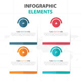 Elementi variopinti astratti di Infographics di cronologia di affari della casella di testo del cerchio, illustrazione piana di v Fotografia Stock