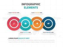 Elementi variopinti astratti di Infographics di cronologia di affari della freccia del cerchio, illustrazione piana di vettore di Immagine Stock Libera da Diritti