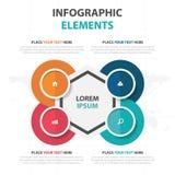 Elementi variopinti astratti di Infographics di cronologia di affari di esagono del cerchio, illustrazione piana di vettore di pr Fotografia Stock