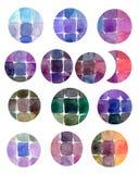 Elementi variopinti di progettazione dell'acquerello Le macchie del cerchio del mosaico hanno isolato la raccolta Tavolozza dell' illustrazione di stock
