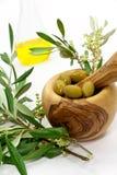 Elementi verde oliva del bagno isolati sul bianco. wellness P Fotografia Stock