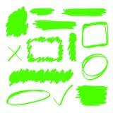 Elementi verdi dell'evidenziatore Fotografie Stock Libere da Diritti