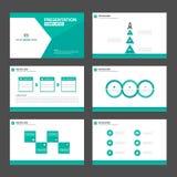 Elementi verdi di Infographic del modello di presentazione del poligono e flye stabilito dell'opuscolo di vendita di pubblicità d Fotografia Stock
