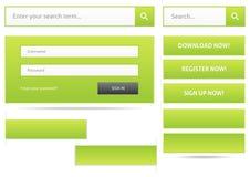 Elementi verdi di web design Fotografia Stock