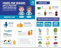 Elementikonen-Brosch?renkonzept des Nahrungsmittelgesundheitsvektors infographic stock abbildung