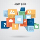 Elementinformationgraphik mit flacher Ikone Netzentwurfsvorrat Lizenzfreie Stockbilder