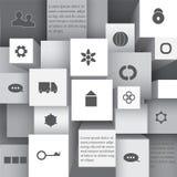 Elementinformationgraphik mit flacher Ikone Netzentwurfsvorrat Lizenzfreies Stockbild
