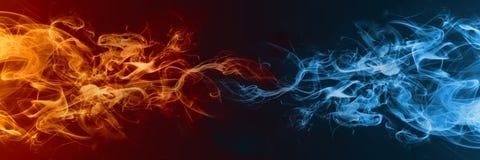 Elemento abstracto del fuego y del hielo contra contra uno a fondo libre illustration