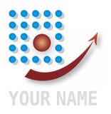 Elemento abstracto del icono con los puntos y la flecha Imagenes de archivo