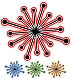 Elemento abstrato com linhas radiais aleatórias com os pontos na extremidade Fotos de Stock