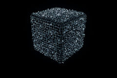Elemento abstrato da forma no estilo do holograma de Wireframe Rendição 3D agradável Foto de Stock