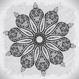Elemento abstrato do branco do preto do projeto Mandala redonda no vetor Molde gráfico para seu projeto Teste padrão circular Fotos de Stock