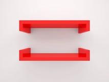 Elemento abstrato do projeto 3d, prateleira vermelha vazia Fotos de Stock Royalty Free
