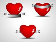 Elemento aislado tres del corazón Fotografía de archivo