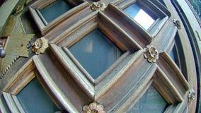 Elemento allungato quadrato scolpito di legno della porta Fotografia Stock