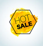 Elemento amarelo quente da aquarela do vetor da venda Imagem de Stock Royalty Free