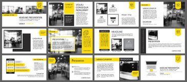 Elemento amarillo para la diapositiva infographic en fondo presentación stock de ilustración