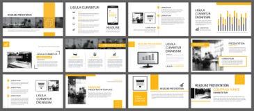 Elemento amarillo y blanco para la diapositiva infographic en fondo stock de ilustración