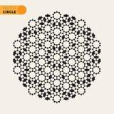 Elemento arabo radiale in bianco e nero di Rosette Geometric Star Tiling Design di vettore Fotografie Stock Libere da Diritti