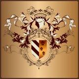 Elemento araldico con l'armatura, l'insegna, la corona ed i nastri in reale Fotografie Stock