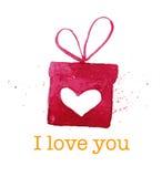 Elemento artístico dibujado mano del diseño de la caja de regalo del día de San Valentín del vector aislado en el fondo blanco Fotos de archivo