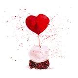 Elemento artístico dibujado mano del diseño de la torta del día de San Valentín del vector aislado en el fondo blanco fotos de archivo