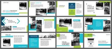 Elemento azul y verde para la diapositiva infographic en fondo pres stock de ilustración
