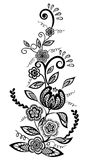 Elemento blanco y negro del diseño de las flores y de las hojas Imagen de archivo libre de regalías